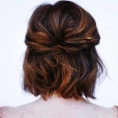 20 Great Updo Styles for Short Hair - Hair Style Updo Styles, Curly Hair Styles, Shot Hair Styles, Hair Day, New Hair, Wavy Hair, Curls Hair, Short Brunette Hair, Tousled Hair