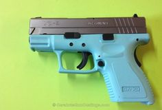 MY Springfield XD-9! with Cerakote Gun Coating - H-175 Robin's Egg Blue with H-146 Graphite Black. Hubby loves me