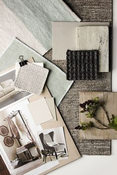 A soft, soothing palette in tones of cream, oyster, and pale grey. Natural materials like wood, limestone, marble and sisal.