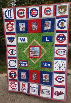 Baseball Little League Code: 2294586332 Chicago Cubs Fans, Chicago Cubs Baseball, Quilting Tips, Quilting Designs, Baseball Quilt, Baseball Shirts, Cubs Cards, Baseball Invitations, Sports Quilts