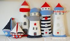 Sewing Lighthouse: E-book/Instructions Sewing Toys, Sewing Crafts, Sewing Projects, Projects To Try, Felt Crafts, Diy And Crafts, Seaside Theme, Sewing Pillows, Decorative Accessories