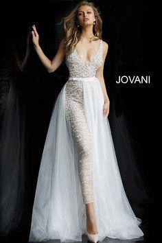 jovani Nude White Embellished Bridal Jumpsuit with Overskirt 60010 Prom Jumpsuit, Wedding Jumpsuit, Sheath Wedding Gown, White Jumpsuit, White Pantsuit Wedding, Formal Jumpsuit, Summer Jumpsuit, Fitted Jumpsuit, Lace Jumpsuit