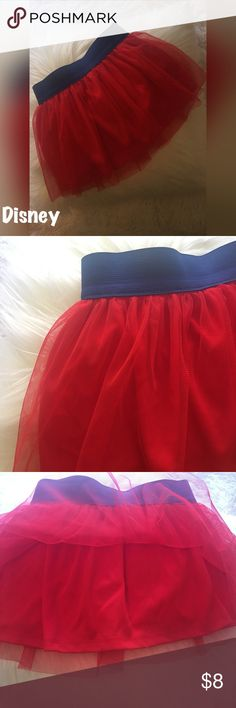"""Disney Skooter Tutu Skirt Skort Thick Navy elastic waistband with Disney signature red Tutu over skort/short/skirt! Lining under thin Tutu layer and cotton skort underneath. Size 4T used item. Waist measures 9 1/2"""" across (laying flat no stretching) and top of waist to bottom length) 9 1/2"""". Disney Bottoms Skorts"""