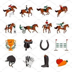 Horse Riding Sport Icons by macrovector Horse rising sport flat color icons with rider on horseback jockey in carriage horseshoe fence prize images isolated vector illust Horse Template, Flat Drawings, Sport Icon, Vector Photo, Symbol Logo, Flat Color, Christmas Design, Horse Riding, Designs To Draw