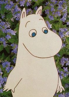 .moomin. purple flowers. Cartoon Pics, Cartoon Characters, Critters 3, Moomin Valley, Enchanted Doll, Disney Phone Wallpaper, Tove Jansson, Kid Character, Little Critter