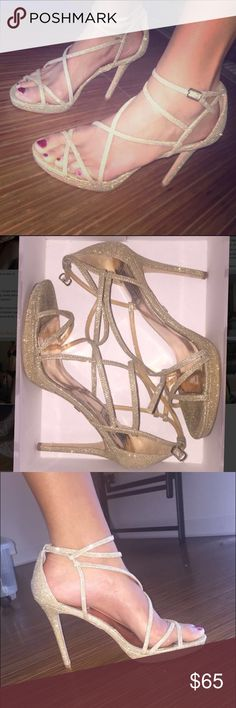 Badgley Mischka - sparkly gold heels Worn once, originally $180! Sparkly gold strappy sandals are perfect for formalwear, cocktail wear, or even just with jeans! Bottoms are slightly messed up due to the price sticker never fully coming off. Badgley Mischka Shoes Heels
