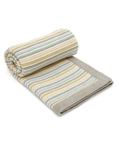 Small Knitted Blanket - Stripe Pastel