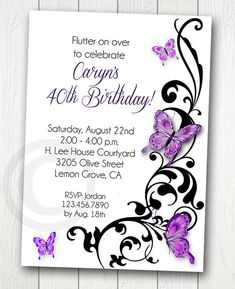 BUTTERFLY INVITATION Printable for Birthday by ReneesSoirees