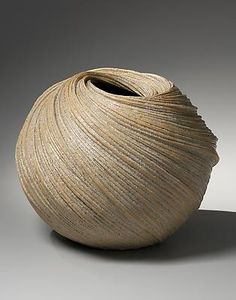 Sakiyama Takayuki - Large swirling vessel with diagonally incised linear patterning with orange edges, 2013. Stoneware with sand glaze