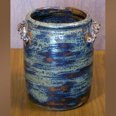 Most commonly used in the kitchen for wooden spoons and other utensils, but can just as easily be used for a plant or extra rolls of toilet paper in the bath. Approximately wide x tall. Shown with Optional Handles. Stoneware Crocks, Antique Stoneware, Pottery Studio, Wooden Spoons, Something Blue, Utensils, Toilet Paper, Different Colors, Blues