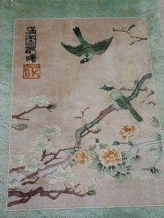 Little Chinese silk antique rug.