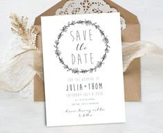 """Wedding invitation """"Julia Collection"""" - Save the date, Rosemary Wreath and leaves,original drawing,modern style,handmade,digital artwork. Design and drawn by MARAQUELA"""
