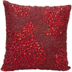 Mina Victory Luminescence Square Beaded Throw Pillow ($112) ❤ liked on Polyvore featuring home, home decor, throw pillows, red, red home decor, patterned throw pillows, red throw pillows, red accent pillows and square throw pillows
