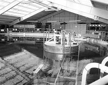 Neutral Buoyancy Simulator, Huntsville, AL offered an environment similar to the zero-gravity of space by floating people and test hardware in a large pool of water. Engineers and astronauts developed hardware and practiced procedures in this tank from its completion in 1968 through its decommissioning in 1997.