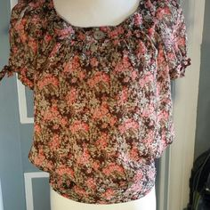 **2xHP** Sweet flower blousen Perfect for spring,  this blousen top has brown background and full lining (except for sleeves) with pink, celery, and taupe sprigs. Short puff sleeves with bows, and abalone decorative button. Waist has flat front, elasticized sides and back. Just perfect pristine blousen top. *HP 'Girly Girl Party' 04/26/15**Boho, Indie & Rocker party 06/24/15* Dress Barn Tops
