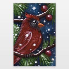 Holiday Cardinal Wrapped Canvas Prints and Wall art for sale at Boom Boom Prints! This acrylic painting by Monica Sugg features an elegant cardinal perched on a lightly snow covered branch.