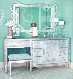 Venetian Plaster Walls, Scrolly Designs and Silver Furniture by artist Tracy Rivers.