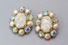 SOLD Vintage white glass opal and AB rhinestone enamel clip on earrings *** $37 at Pipit Vintage