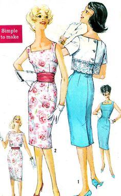 1960s Dress and Bolero Pattern Simplicity 3464 by paneenjerez, $16.00 Love the square neckline!