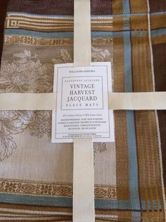 NEW WILLIAMS SONOMA Napperons Vintage Harvest Jacquard Placemats Brown S/4 NWT…