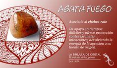 #Cristales: #Agata Fuego, #chakra raiz. La Brújula de Cristal, Eva Lara.