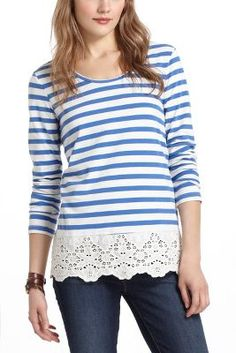 Add a wide lace trim to a too-short top  for a shabby chic look!