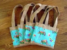 Mini Tote Bags ~ Hawaiian ~ Flamingos with Leis on Teal, Beige Burlap. Perfect for little girl, keiki ~ Available on www.maliakeibags.com