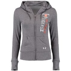 Women's Detroit Tigers Under Armour Gray French Terry Full-Zip Performance Hoodie