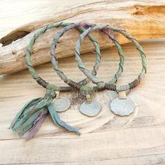 Silk Road Bangle Stack 3 Piece Bracelet Set Sari by GypsyIntent