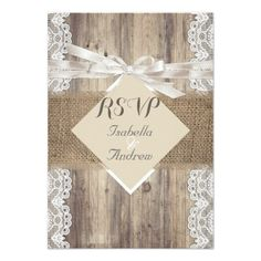 Lace Wedding Invitation Rustic Wedding Beige White Lace Wood RSVP Card