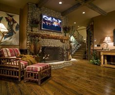 rustic fireplace idea