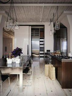 dark wood base / white upper transitional kitchen