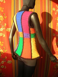 Stained Glass Shaped Granny Squares  Vintage Crochet Vest