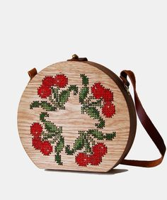 Cherry Cross Stitched Oak Wood Bag by Grav Grav $390