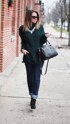 Dark Green Cable Knit Roll Neck Sweater