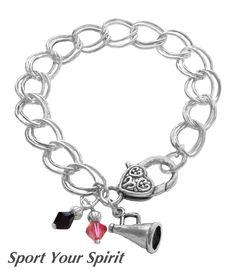Personalized Cheerleader Charm Bracelet,Team Color,Swarovski Bracelet,Cheerleading Gift,Cheer Mom Bracelet,Cheer Coach Gift, (Made to Order) by SportYourSpirit on Etsy https://www.etsy.com/listing/111207409/personalized-cheerleader-charm