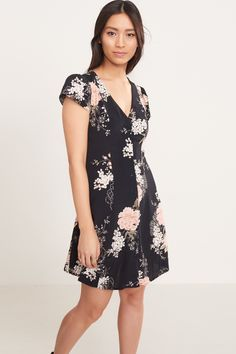 Fluttery florals Flutter Sleeve Fit And Flare Dress