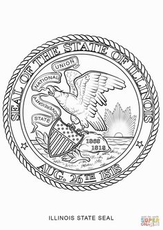 illinois state flag coloring page