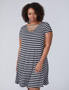 Horizontal Caged T-Shirt Dress   Lane Bryant