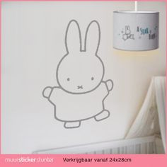 Nijntje muursticker muurdecoratie silhouette voor de babykamer of kinderkamer. Niffy nijntje muurstikker inspiratie ideeen. Miffy, Baby Room, Little Ones, Hello Kitty, Snoopy, Bird, Fictional Characters, Decorations, Bunny