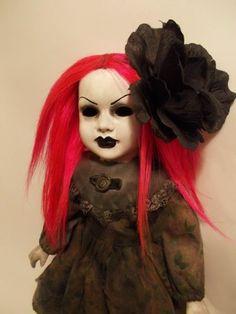 Creepy Gothic Mourning Doll Pink Hair Custom Repaint OOAK Artist porcelain doll