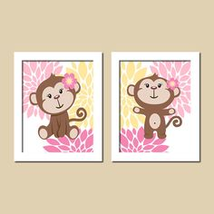 Baby Girl Monkey Nursery Wall Art Pink Yellow by LovelyFaceDesigns,