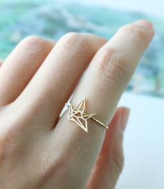 Lined Crane Ring Paper Crane Ring Adjustable Ring by petitformal