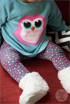 Baby girl fashion: polka dot pants & H&M owl sweatshirt #kidsfashion #kidsstyle