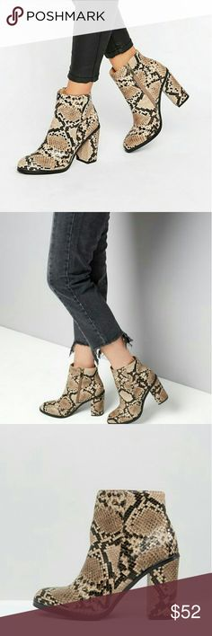 """❤New Listing❤ASOS faux Snakeskin Boots These are amazing!  Look Faux Snake Skin Block Heeled Boot. 4"""" heel  Like New Condition, worn inside the house long enough to try on ✔Please see the ASOS Conversion chart in the listing, These boots are new and I cannot refund if they don't fit✔ ASOS Shoes Ankle Boots & Booties"""
