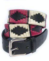 Black Leather Argentine 'Gaucho' Polo Belt  Berry   White   Black Stripe