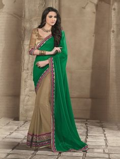 Green and Beige Georgette Saree with Lace Work