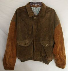 c174317b98d9 RARE Vintage Suede BOMBER Jacket Leather Patch Lined J.C. Jezequel France  Men 52 #JCJezequel