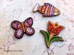 Hand painted fridge magnets set  by Sanasel