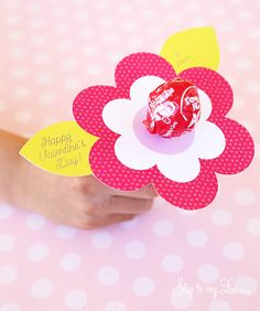 lollipop flower valentine free printable #valentine skiptomylou.org